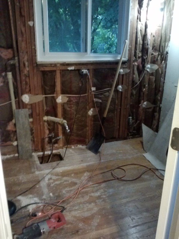 Master Bath Renovation, completely gutted, during, by Since I Became a Mom featured on @Remodelohic