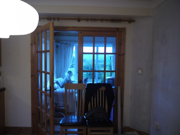 7 Pine french doors updated to dark gray, before, by Paint it White featured on @Remodelaholic