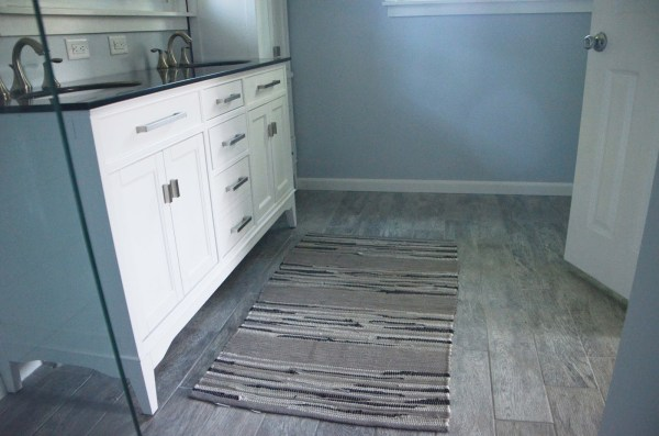 Master Bath Remodel, gray porcelain faux wood floor, by Since I Became a Mom featured on @Remodelohic