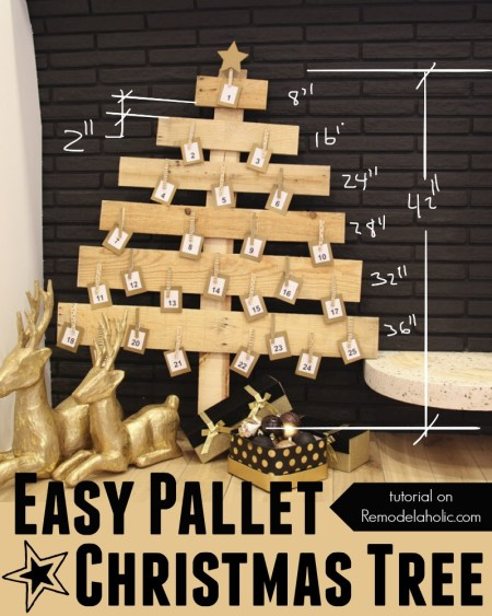 Easy DIY Pallet Wood Christmas Tree @Remodelaholic