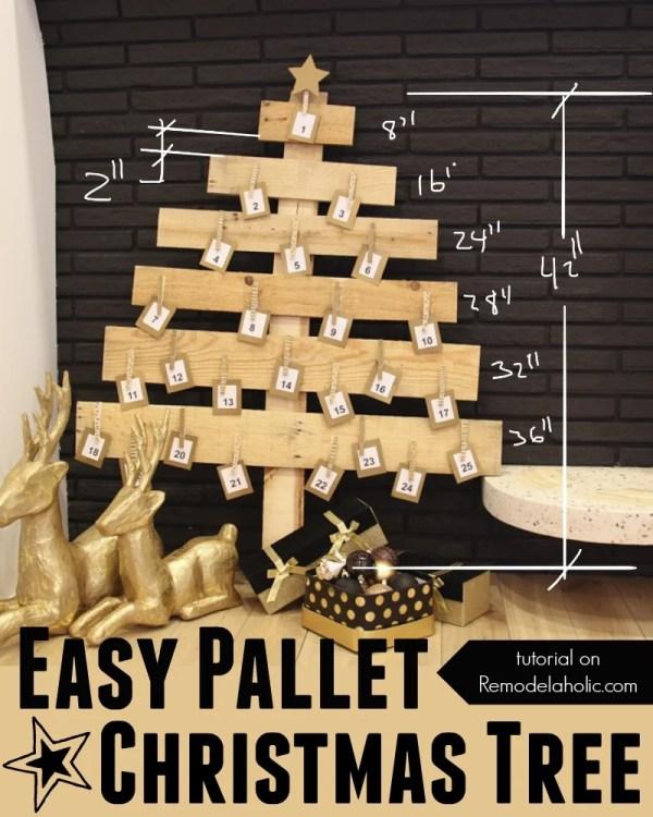 Easy DIY Pallet Wood Christmas Tree @Remodelaholic