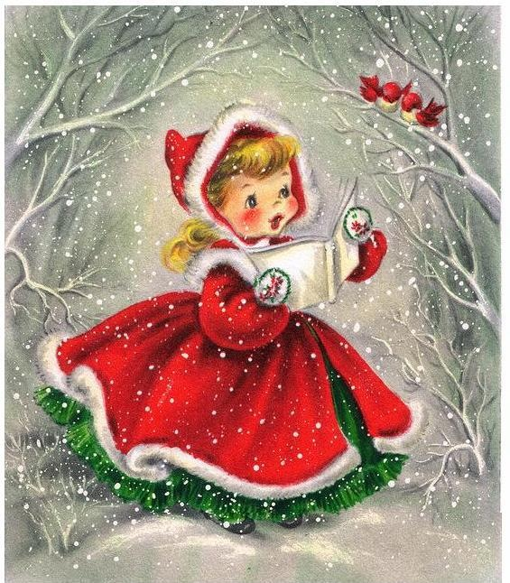 Classic vintage Christmas caroler, printable vintage Christmas cards and images
