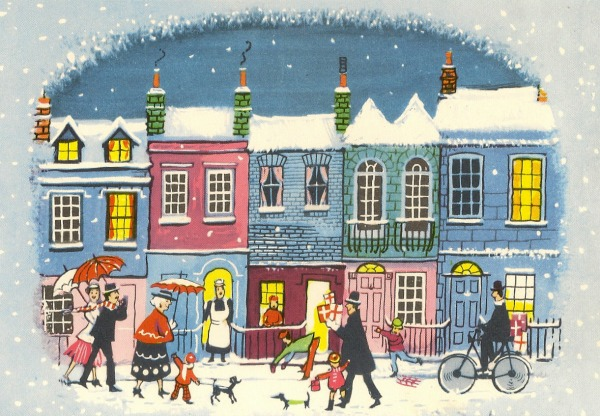 quaint and colorful vintage town Christmas card art