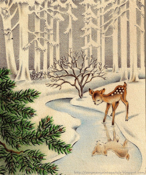 vintage winter Christmas card