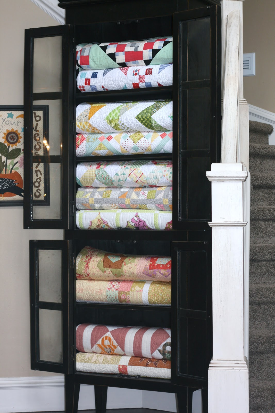 Superb Throw Blanket Storage #27 - Store Quilts In A China Cabinet For Easy Access And Nice Looking Blanket  Storage