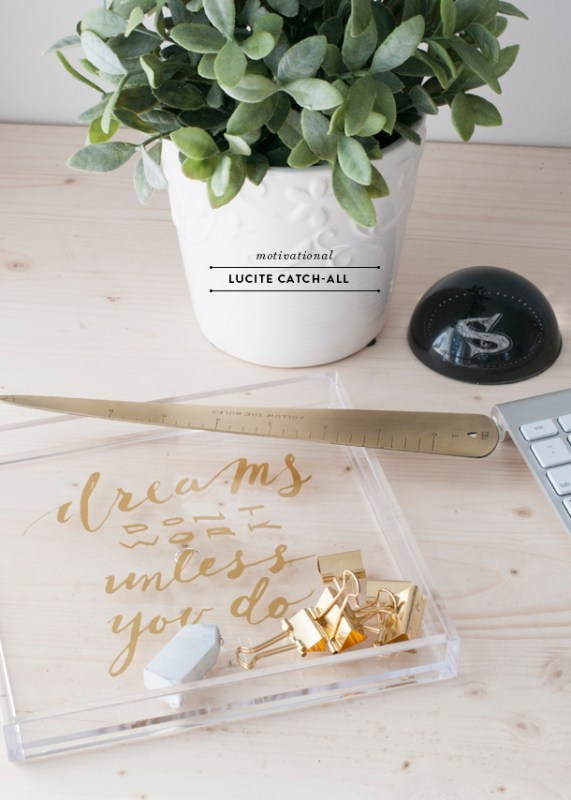 diy lucite acrylic catch-all desk tray Earnest Home Co
