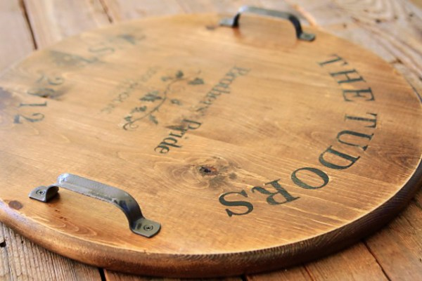 faux engraved or burned wood tray Lil Blue Boo