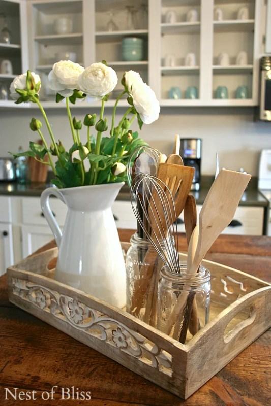 kitchen organizing with countertop trays Brandi Sawyer