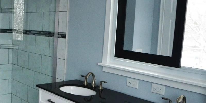 Remodelaholic | Master Bathroom Renovation with Sliding Mirror Over ...