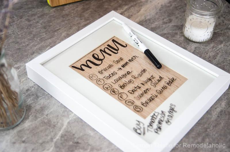 DIY Wood Veneer whiteboard Menu Planner