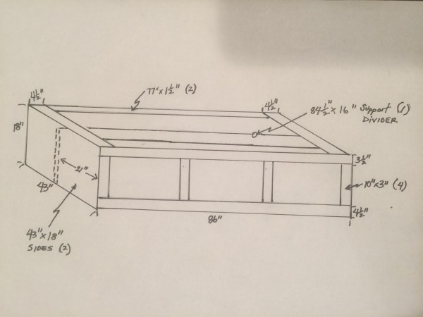 sketched dimensions for DIY bed nook