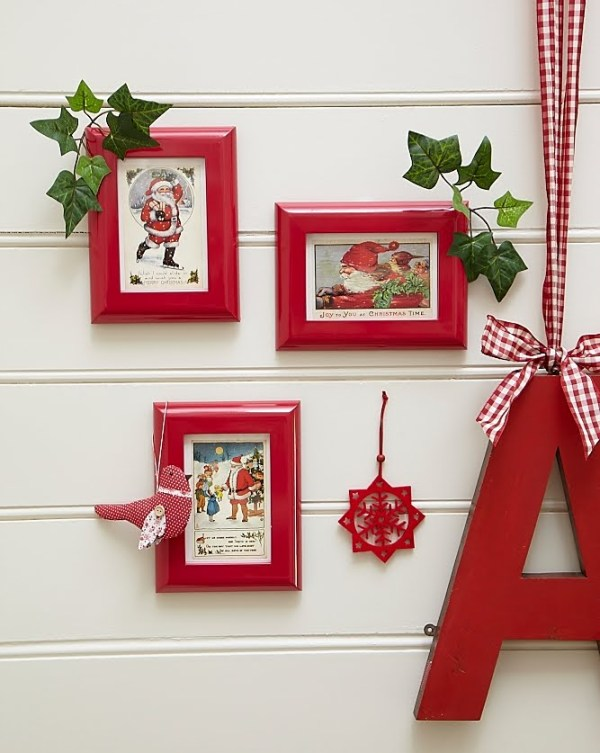 vintage Christmas cards framed in red frames -- so perfect!