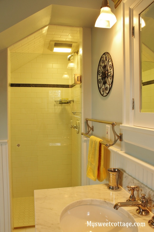13 Subway tile in master bath of home with bathroom in do, My Sweet Cottage featured on @Remodelaholicrmer window