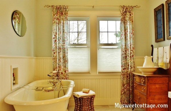 22 Added dormer window creates beautifully usable bathroom in 1927 home, My Sweet Cottage featured on @Remodelaholic
