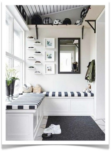 Monochrome Entry Inspiration: This black and white entry mudroom area is perfect. A bench for sitting and storage, plus the shelves hold helmets and bags. Love the little ledges for sunglasses!