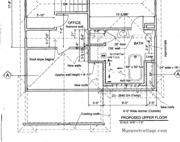 7 Architectral plans for adding dormer window to 1920s cottage, by My Sweet Cottage featured on @Remodelaholic