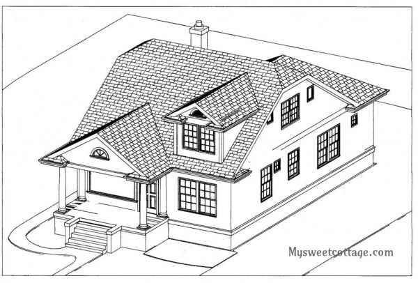 8 Exterior drawing of 1920s cottage remodeled to include a dormer window as a master bath, by My Sweet Cottage featured on @Remodelaholic