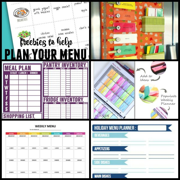 Best free menu planning printables @Remodelaholic