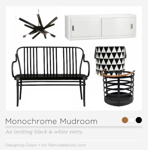 Learn to create an inviting black and white entryway, for a monochrome mudroom that is both chic and functional.