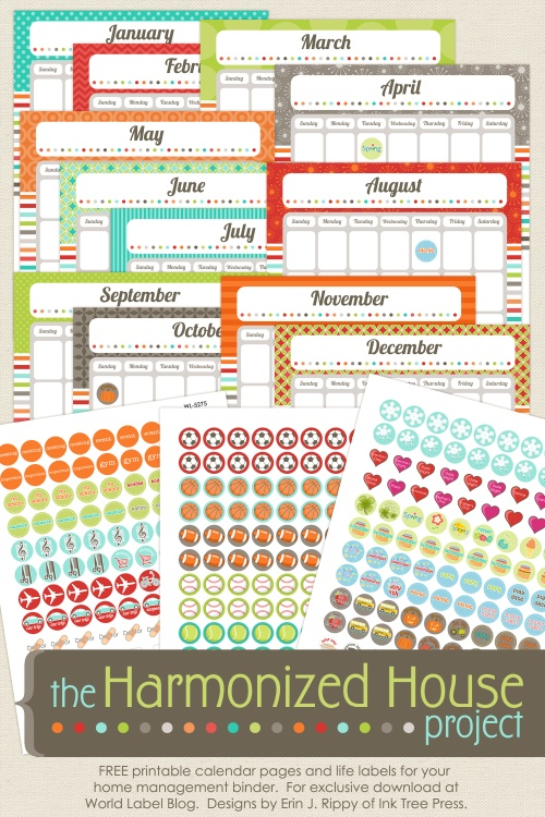 calendar printable and labels, World Label