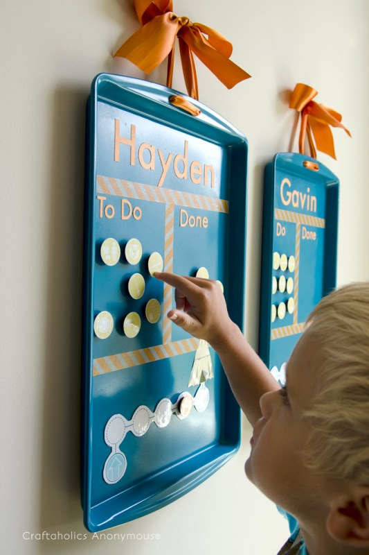 chore chart picture magnets on a cookie sheet for younger children who don't read yet, Craftaholics Anonymous