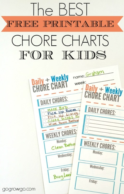 chore chart printable for kids, Go Grow Go