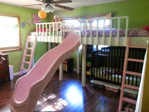 double loft bed diy kids slide