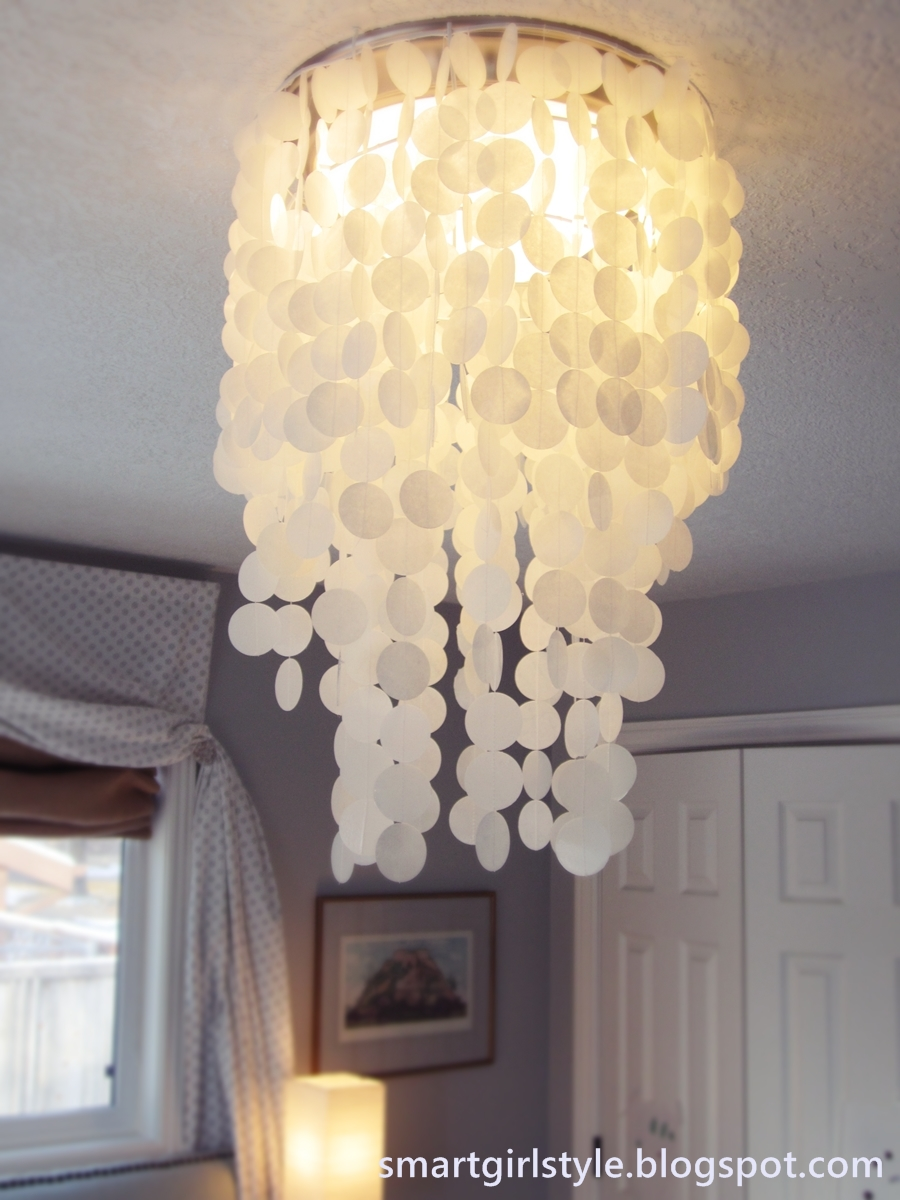 Remodelaholic 25 gorgeous diy chandeliers laminated rice paper faux capiz shell chandelier diy arubaitofo Choice Image