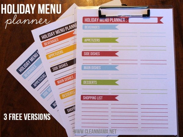menu planner for holiday meals, Clean Mama