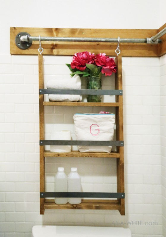 multifunctional and simple DIY bathroom organizer -- hang this shelf or anything (like towels on S hooks) from the rail. Brilliant!