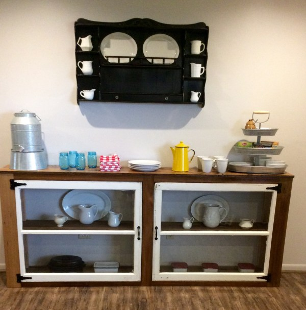1 Reclaimed wood and upcycled old windows create a beautiful buffet, The Weekend Country Girl featured on @Remodelaholic