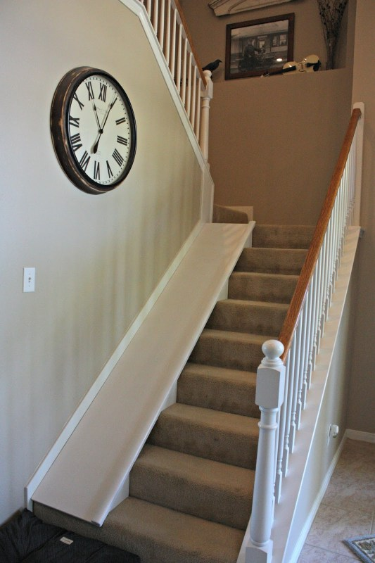 Remodelaholic | DIY Stair Slide, or How to Add a Slide to Your Stairs