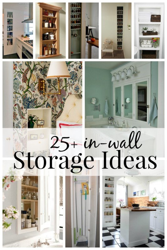 25+ In-Wall Storage Ideas via Remodelaholic.com