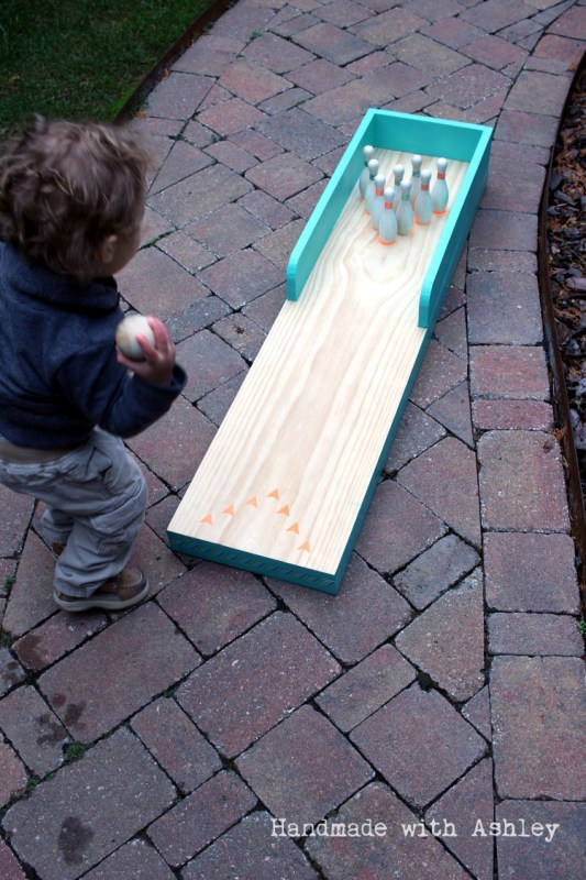 3 Do it Yourself from scrap wood, bowling lane for kids, Handmade by Ashley featured on @Remodelaholic