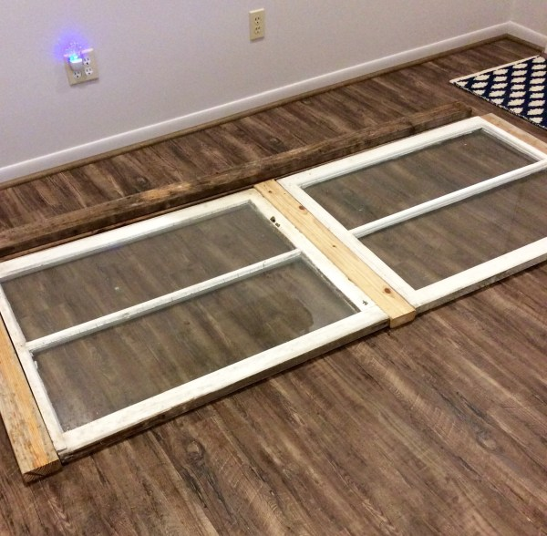 4 Recycled old windows used in buffet table, reclaimed wood, The Weekend Country Girl featured on @Remodelaholic