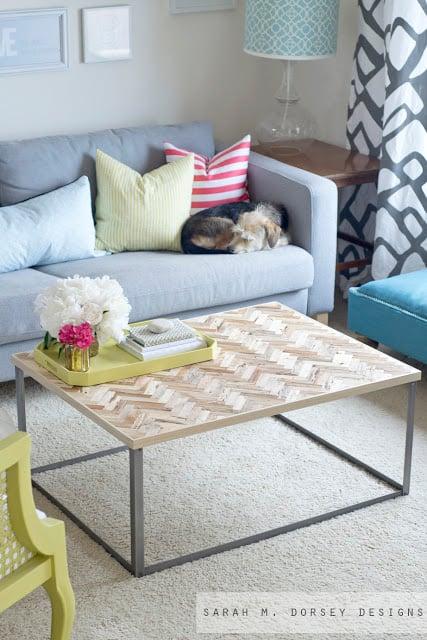 Sarah M Dorsey Designs, herringbone wood and metal coffee table