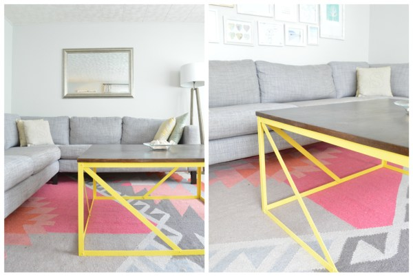 Metal and wood coffee table with angled supports, Plaster and Disaster featured on Remodelaholic.com