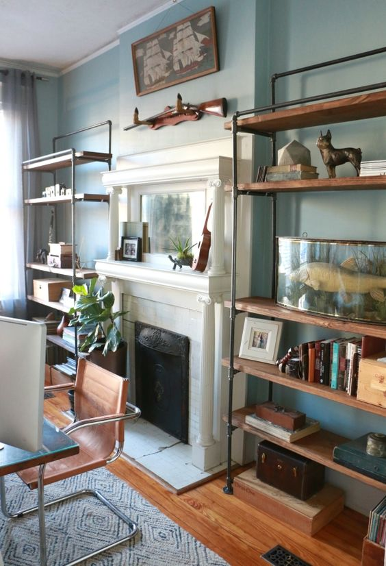 modern industrial shelves around the fireplace
