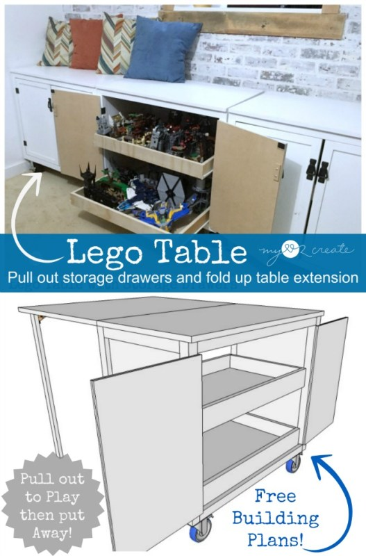AMAZING Lego table with lots of storage plus a fold-out table top so there is plenty of room for all those sets! by Mylove2create