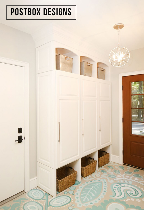 Amazing DIY mudroom entry with lockers and floor to ceiling storage and a beautiful painted floor