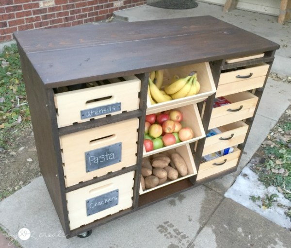 Awesome DIY kitchen island, full of storage! Mylove2create