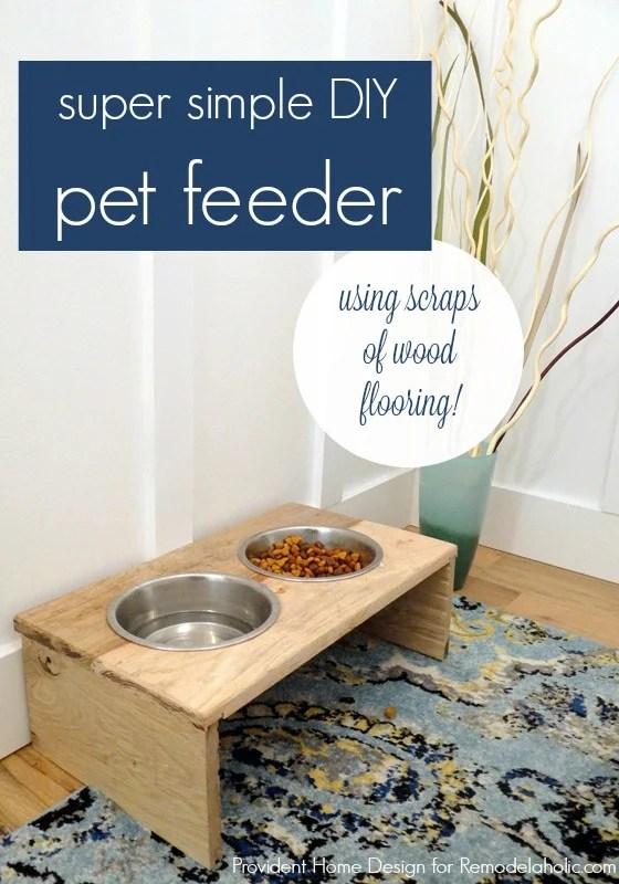 DIY Rustic Pet Feeder using scraps of wood flooring, great beginner project @Remodelaholic