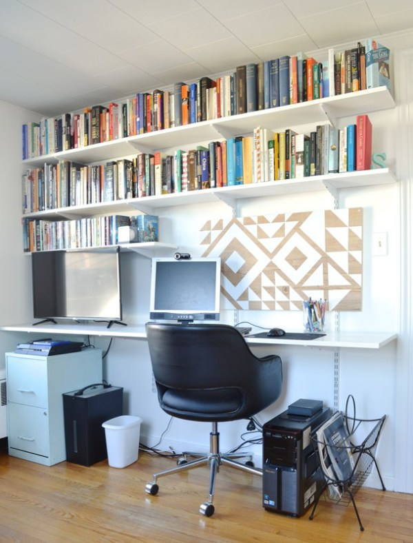 DIY floating desk and shelves with handmade geometric art Plaster and Disaster