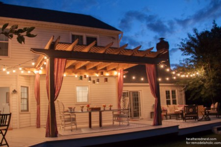 DIY pergola tutorial www.heatherednest.com for remodelaholic.com