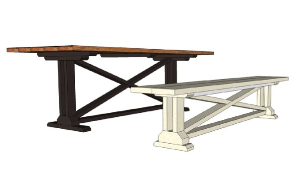 Build a beautiful rustic X dining table and matching bench. Free building plans that make it simple and straightforward to build your own table.