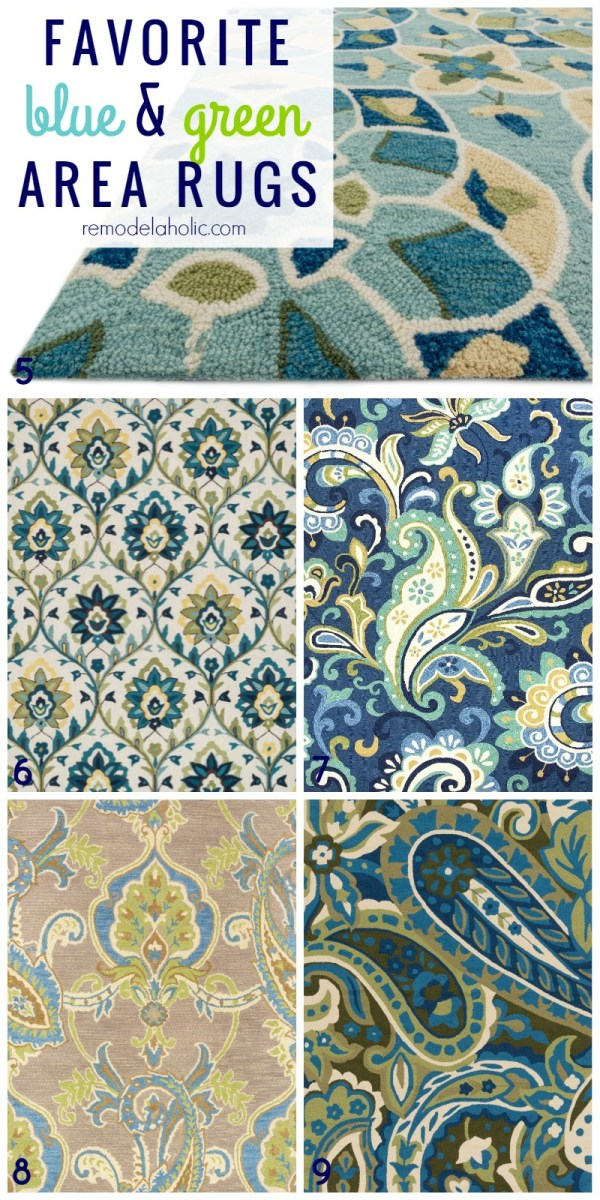 Top picks for green and blue area rugs, patterned, paisley, striped, floral. Great picks! @Remodelaholic