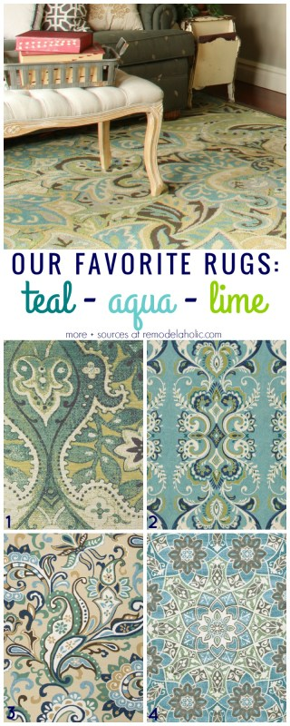 Beautiful blue area rugs! I love the combinations of the teal, aqua, lime, blue-green spectrum on these rugs, with the paisley and ornate patterns.