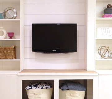 DIY Built-In Media Wall Unit with Extra Storage (From an IKEA Bookcase!)