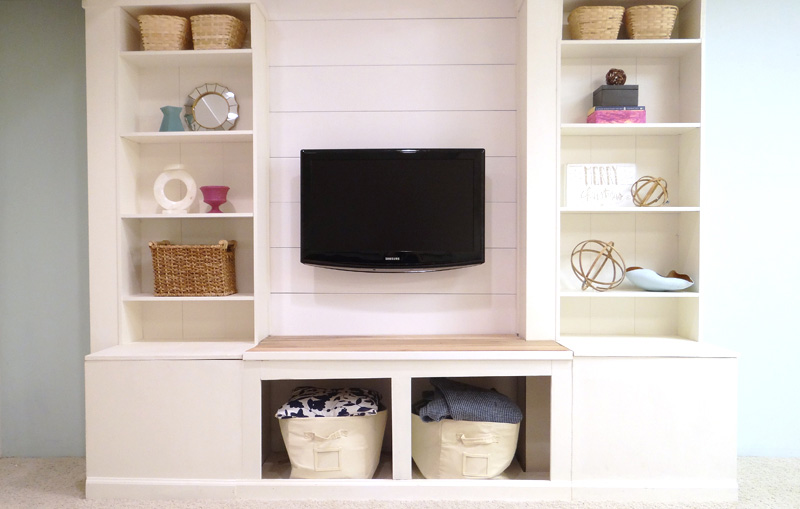 How to Make a Media Wall Unit with Extra Storage using an IKEA Wall Unit featured on Remodelaholic.com