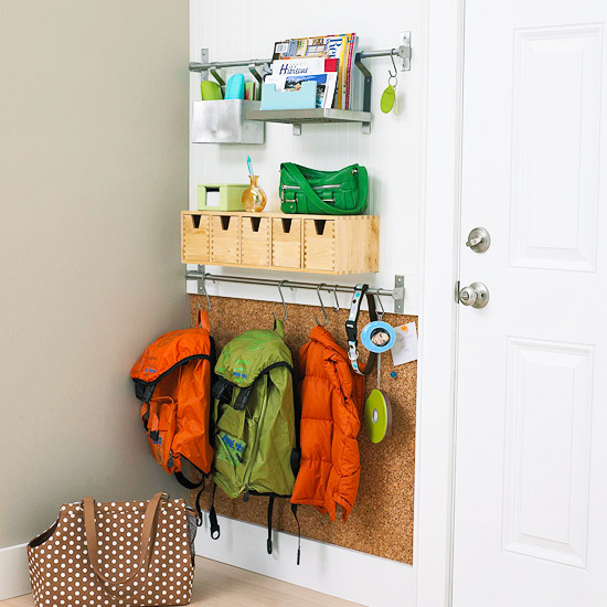 Mini Mudroom, just one wall to organize it all | 100+ Beautiful Mudrooms and Entryways at Remodelaholic.com